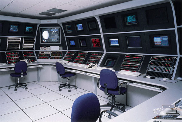 Triple-tier Command Center Furniture and Control Consoles are equipped with EIA racks kits