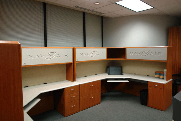 Modular Furniture with engraved logos create corporate identity and promote teaming