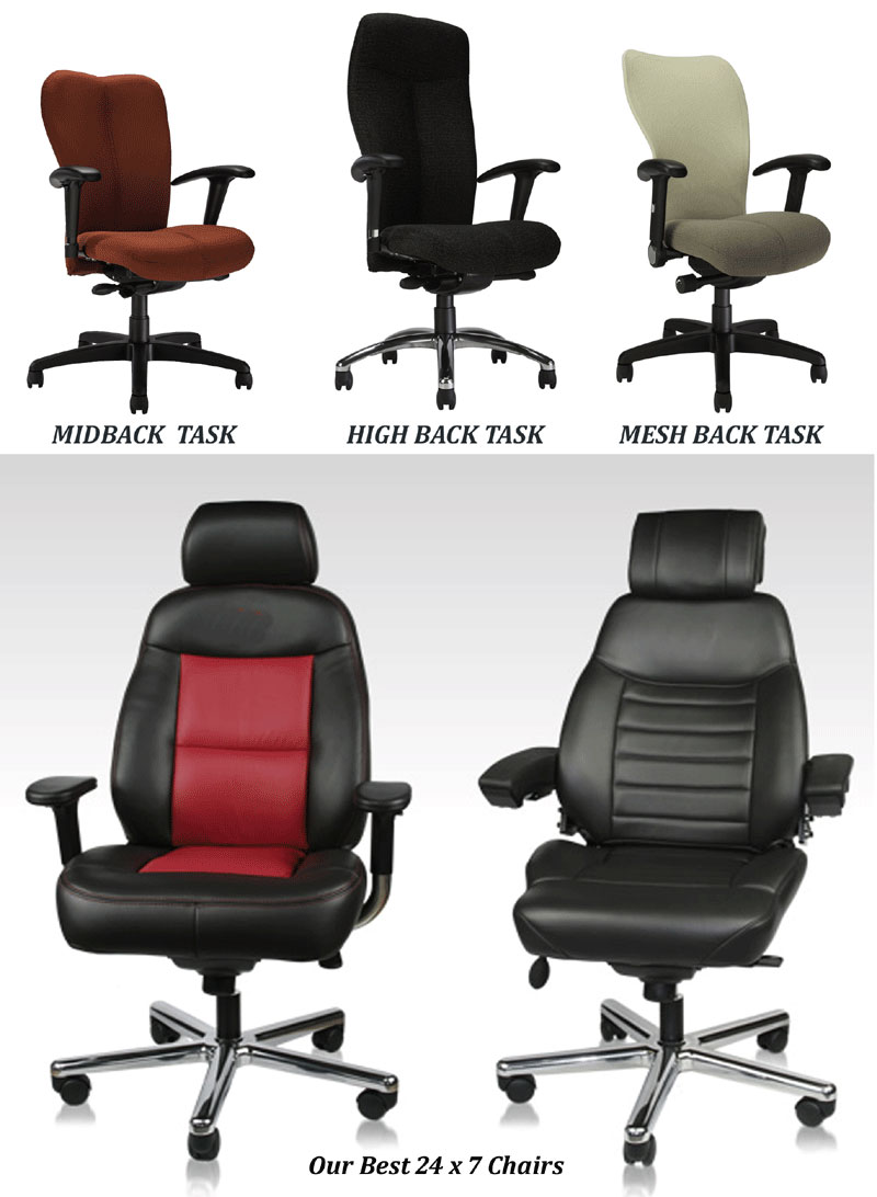 Heavy rated task chairs for command centers and control rooms